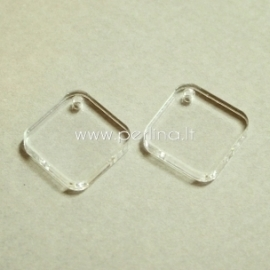"""Org. stiklo detalė-pakabukas """"Rombas"""", skaidrus, 2,1x2,1 cm"""