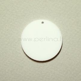 """Org. stiklo detalė-pakabukas """"Pilnatis"""", baltas, 2,1 cm"""