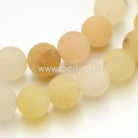 Natūralus geltonasis avantiurinas, karoliukas, matinis, apvalus, 8 mm, 1 vnt.