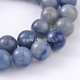 Natūralus mėlynasis avantiurinas, karoliukas, apvalus, 10 mm, juosta 39 cm