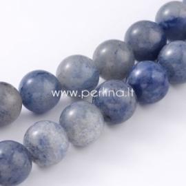 Natūralus mėlynasis avantiurinas, karoliukas, apvalus, 8 mm, juosta 39 cm