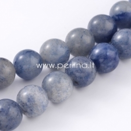 Natūralus mėlynasis avantiurinas, karoliukas, apvalus, 6 mm, 1 vnt.