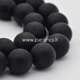 Natūralus agatas, karoliukas, dažytas, matinis, juodas, 12 mm, 1 vnt.