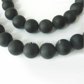 Natūralus juodasis agatas, karoliukas, matinis, 8 mm, juosta 39 cm