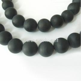 Natūralus juodasis agatas, karoliukas, matinis, 8 mm, 1 vnt.