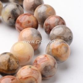 Natūralus margasis agatas, karoliukas, 10 mm, 1 vnt.