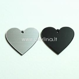 """Org. stiklo detalė-pakabukas """"Širdis"""", juodos/sidabrinės sp., 2,2x2,5 cm"""