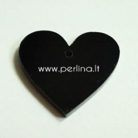 "Org. stiklo detalė-pakabukas ""Širdis"", juodos sp., 2,2x2,5 cm"