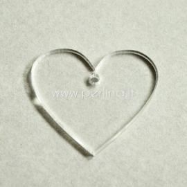 """Org. stiklo detalė-pakabukas """"Širdis"""", skaidrios sp., 2,2x2,5 cm"""