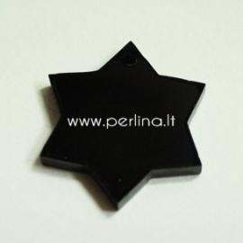 """Org. stiklo detalė-pakabukas """"Žvaigždė"""", juodos sp., 2,5x2,5 cm"""