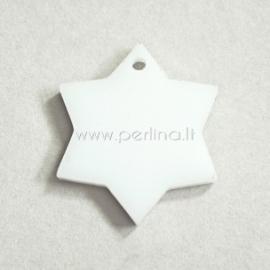 """Org. stiklo detalė-pakabukas """"Žvaigždė"""", baltos sp., 2x2 cm"""