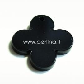 """Org. stiklo detalė-pakabukas """"Suapvalintas kryžius"""", juodos sp., 2,5x2,5 cm"""