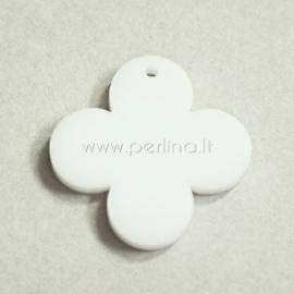 """Org. stiklo detalė-pakabukas """"Suapvalintas kryžius"""", baltos sp., 2,5x2,5 cm"""