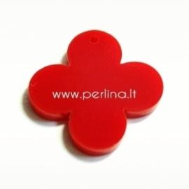 """Org. stiklo detalė-pakabukas """"Suapvalintas kryžius"""", raudonos sp., 2,5x2,5 cm"""