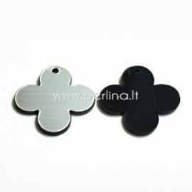 """Org. stiklo detalė-pakabukas """"Suapvalintas kryžius"""", juodos/sidabrinės sp., 2,5x2,5 cm"""