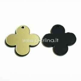 """Org. stiklo detalė-pakabukas """"Suapvalintas kryžius"""", juodos/auksinės sp., 2,5x2,5 cm"""
