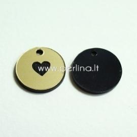 """Org. stiklo pakabukas """"Širdelė"""", juodos/auksinės sp., 1,5x1,5 cm"""
