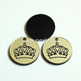 """Org. stiklo pakabukas """"Karūna"""", juodos/auksinės sp., 1,5x1,5 cm"""