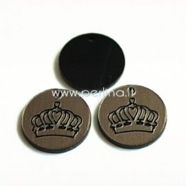 """Org. stiklo pakabukas """"Karūna"""", juodos/bronzos sp., 1,5x1,5 cm"""