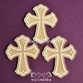 """Kartoninė detalė """"Sacrum - graviruotas kryžius"""", 3 vnt."""