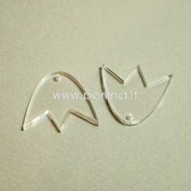 """Org. stiklo detalė-pakabukas """"Tulpė"""", skaidrios sp., 2,2x1,9 cm"""