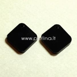 """Org. stiklo detalė-pakabukas """"Rombas"""", juodos sp., 2,1x2,1 cm"""