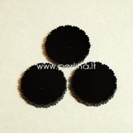 """Org. stiklo detalė-pakabukas """"Banguotas apskritimas"""", juodos sp., 3 cm"""