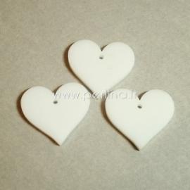 """Org. stiklo detalė-pakabukas """"Širdis"""", baltos sp., 2,2x2,5 cm"""