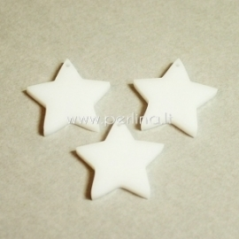 """Org. stiklo detalė-pakabukas """"Žvaigždė smaili"""", baltos sp., 2x2 cm"""
