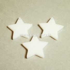 """Org. stiklo detalė-pakabukas """"Žvaigždė smaili"""", baltos sp., 2,2x2,2 cm"""