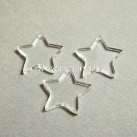 """Org. stiklo detalė-pakabukas """"Žvaigždė smaili"""", skaidrios sp., 2,2x2,2 cm"""