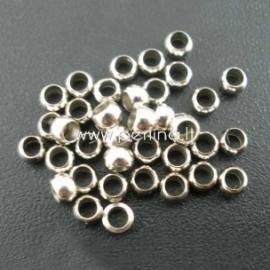 Spaustukai, apvalūs, ant. sidabro sp., 3 mm, 50 vnt