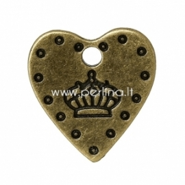 """Pakabukas """"Karūna širdyje"""", ant.bronzos sp., 18x17 mm"""