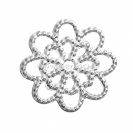 Filigree stamping embellishment, silver tone, 14x14 mm