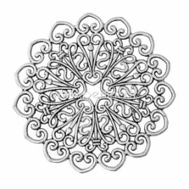 Ažūrinė plokštelė, ant. sidabro sp., 53x53 mm