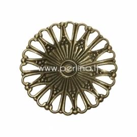 Filigree stamping embellishment, antique bronze, 49 mm