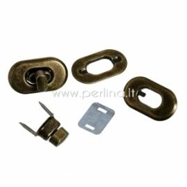 Užsukamas užsegimas, ant. bronzos sp., 37x21 mm