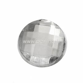 Akrilinis kabošonas, briaunuotas, skaidrios sp., 8 mm