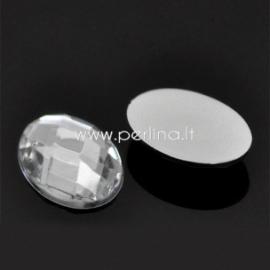 Akrilinis kabošonas, briaunuotas, pilkos/skaidrios sp.,18x13 mm