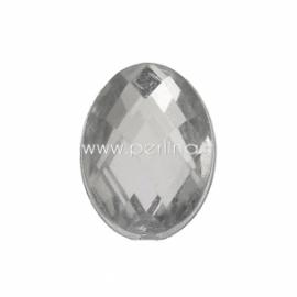 Akrilinis kabošonas, briaunuotas, skaidrios sp.,10x7 mm