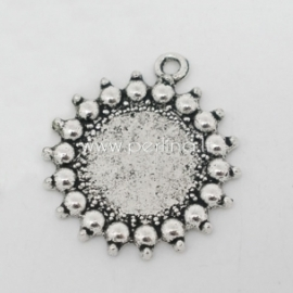 Cabochon setting pendant, antique silver, 27x24 mm