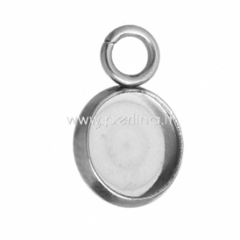 Cabochon setting pendant, stainless steel, 12x8 mm