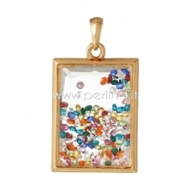 Glass pendant, gold plated, 6,5x3,6 cm