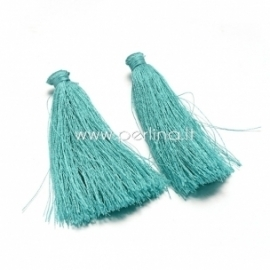 Cotton thread tassel pendant, cyan, 80x8 mm