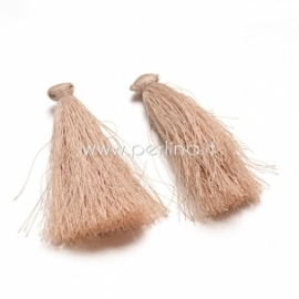 Cotton thread tassel pendant, cream, 80x8 mm