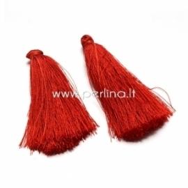 Cotton thread tassel pendant, red, 80x8 mm