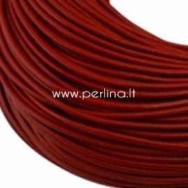 Natūralios odos virvelė, apvali, raudonos sp., 2 mm, 1 m