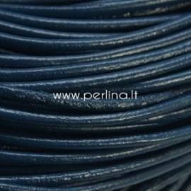 Natūralios odos virvelė, apvali, tamsi mėlyna sp., 2 mm, 1 m