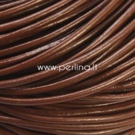 Natūralios odos virvelė, apvali, ruda sp., 2 mm, 1 m