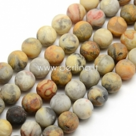 Natūralus margasis agatas, karoliukas, matinis, 10 mm, 1 vnt.